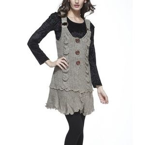 Simply Couture Oatmeal Button Wool-Blend Tunic, S